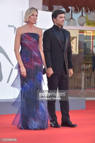 Italian actress Anna Foglietta with her husband Paolo Sopranzetti at the 77 Venice International Film Festival 2020 Closing ceremony red carpet...