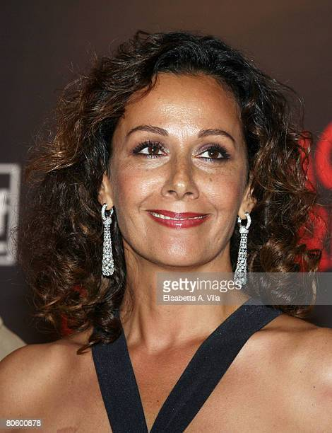 Italian actress Anna Kanakis attends the 'Leatherheads' premiere at the Warner Cinema Moderno on April 10 2008 in Rome Italy