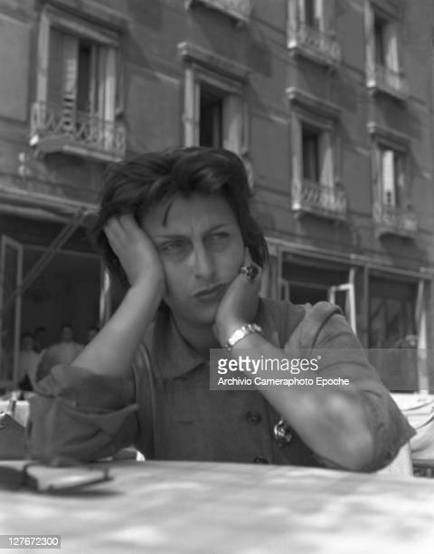 Italian actress Anna Magnani on a water taxi Venice 1950