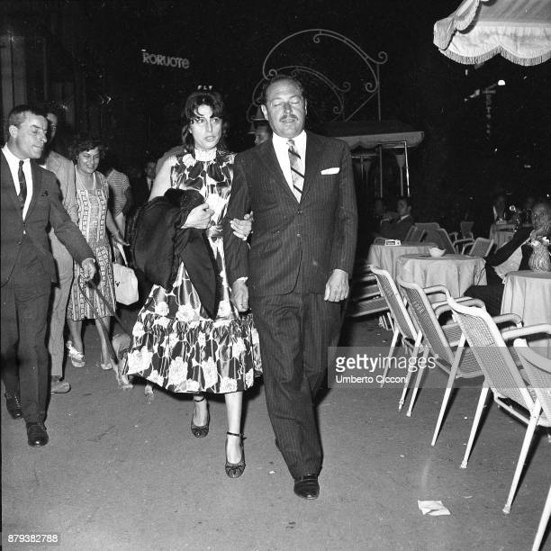 Italian actress Anna Magnani walks with American playwright Tennessee Williams Rome 1958