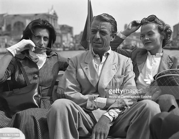 Italian actress Anna Magnani with D'Avanzo on a water taxi Venice 1949