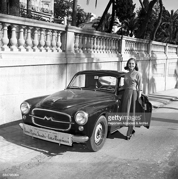 Italian actress Anna Maria Sandri attending to the I Cinema Rally Sanremo 1954