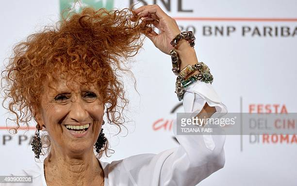 Italian actress Anna Mazzamauro poses during a photocall at the Rome Film Festival on October 23 2015 in Rome AFP PHOTO / TIZIANA FABI