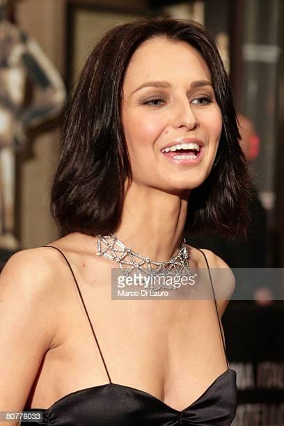 Italian actress Anna Safroncik poses during the arrivals for the David di Donatello Movie Awards at the Auditorium della Conciliazione on April 18...