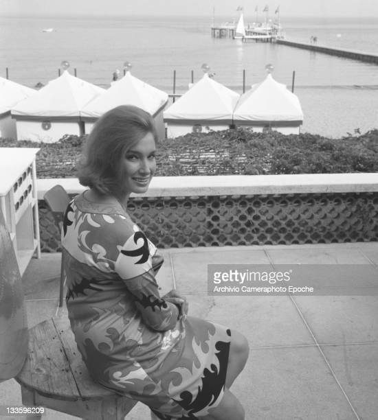 Italian actress Annabella Incontrera posing for the photographer Lido Venice 1967