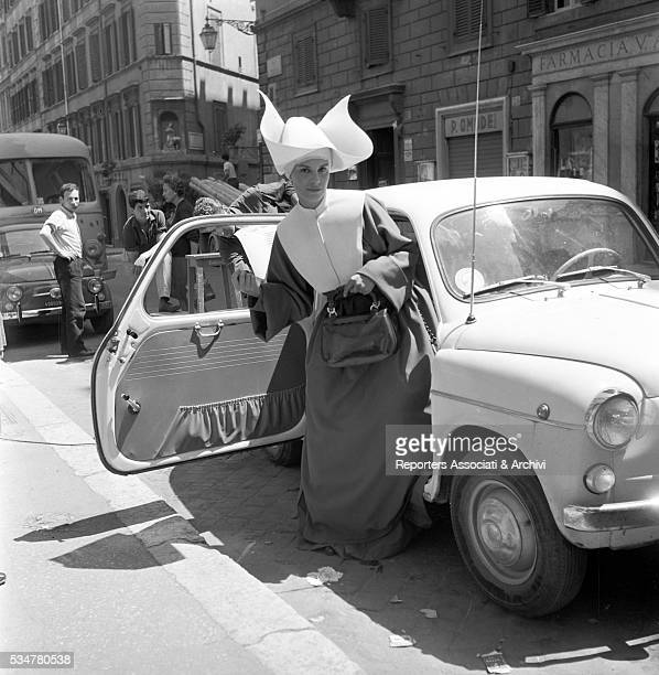 Italian actress Antonella Lualdi acting in amovie dressed as a nun Italy 1963