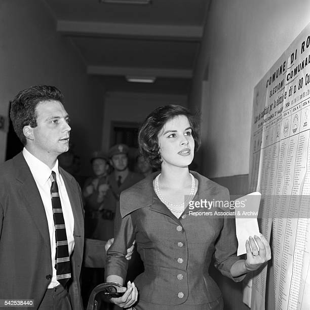 Italian actress Antonella Lualdi and her husband Italian actor Franco Interlenghi studying the lists for the election of the provincial council Rome...