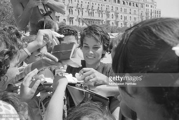 Italian actress Antonella Lualdi signing autographs during the XVIII Venice International Film Festival Venice 1957