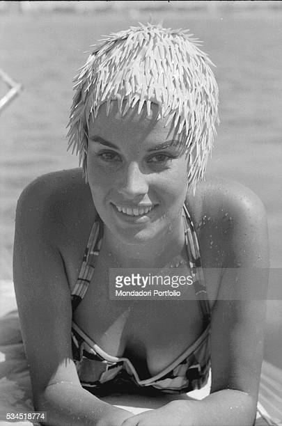 Italian actress Antonella Lualdi smiling with a swim cap during the 19th Venice International Film Festival Venice August 1958