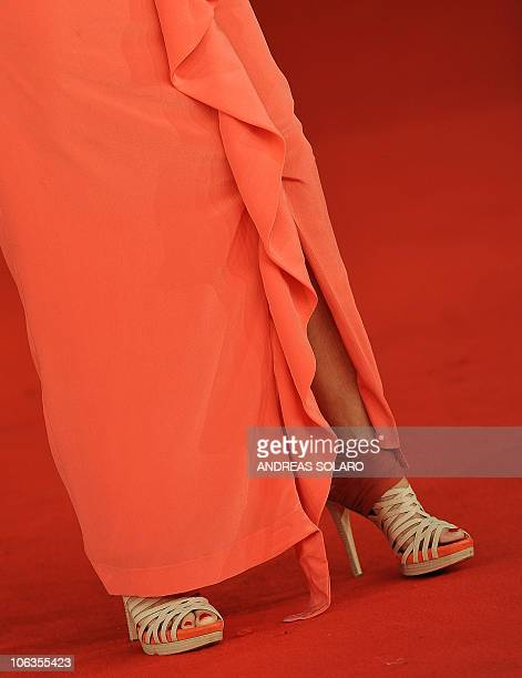 Italian actress Antonella Ponziani stands on the red carpet as she arrives for the screening of her latest film 'La scuola e finita' in competition...