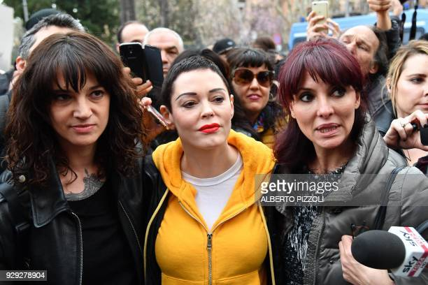 Italian actress Asia Argento along with US singer and actress Rose McGowan who both accuse Harvey Weinstein of sexual assault and Italian showgirl...