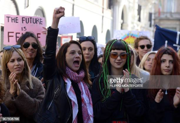 Italian actress Asia Argento and her daughter Anna Lou Castoldi attend the Rome Resists demonstration part of the Women's March in downtown Rome on...