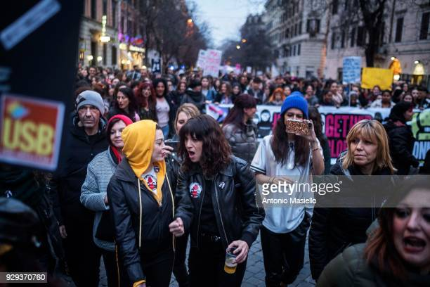 Italian actress Asia Argento and Rose McGowan take part in a demonstration organized by Non una di meno movement to mark the International Women's...