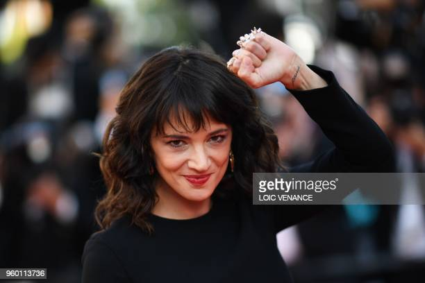 Italian actress Asia Argento arrives on May 19 2018 for the closing ceremony and the screening of the film The Man Who Killed Don Quixote at the 71st...