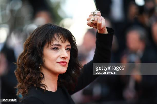 Italian actress Asia Argento poses as she arrives on May 19 2018 for the closing ceremony and the screening of the film The Man Who Killed Don...
