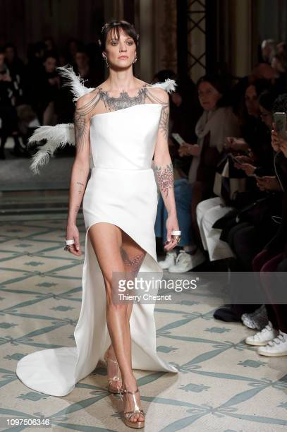 Italian actress Asia Argento walks the runway during the Antonio Grimaldi Spring Summer 2019 show as part of Paris Fashion Week on January 21 2019 in...