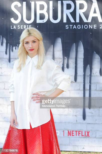 Italian actress Carlotta Antonelli during Suburra The series second season photocall at the Casa del Cinema at Villa Borghese Rome February 20th 2019