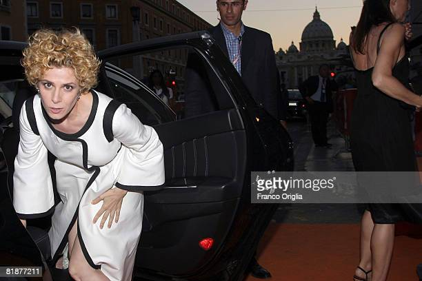 Italian actress Cecilia Dazzi arrives to attend the third day of Roma Fiction Fest 2008 at the Auditorium della Conciliazione on July 9 2008 in Rome...