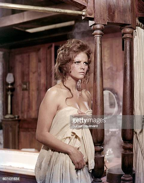 Italian actress Claudia Cardinale on the set of C'era Una Volta Il West written directed and produced by Sergio Leone