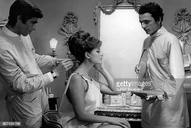 Italian actress Claudia Cardinale on the set of Il magnifico cornuto based on the play by Fernand Crommelynck and directed by Antonio Pietrangeli