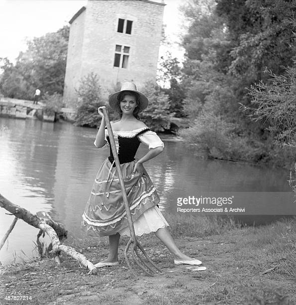Italian actress Claudia Cardinale performing on the set of Cartouche France 1962