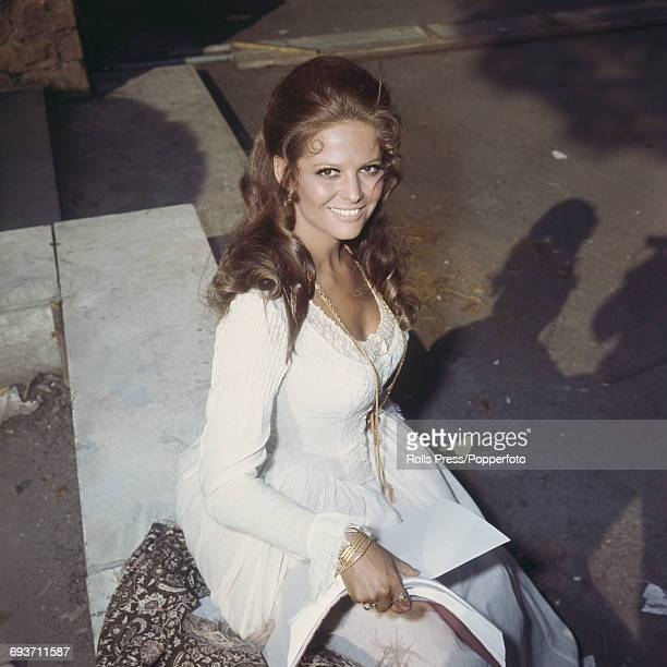 Italian actress Claudia Cardinale pictured in costume in her role as Jill McBain during production of the film 'Once Upon a Time in the West' in Rome...