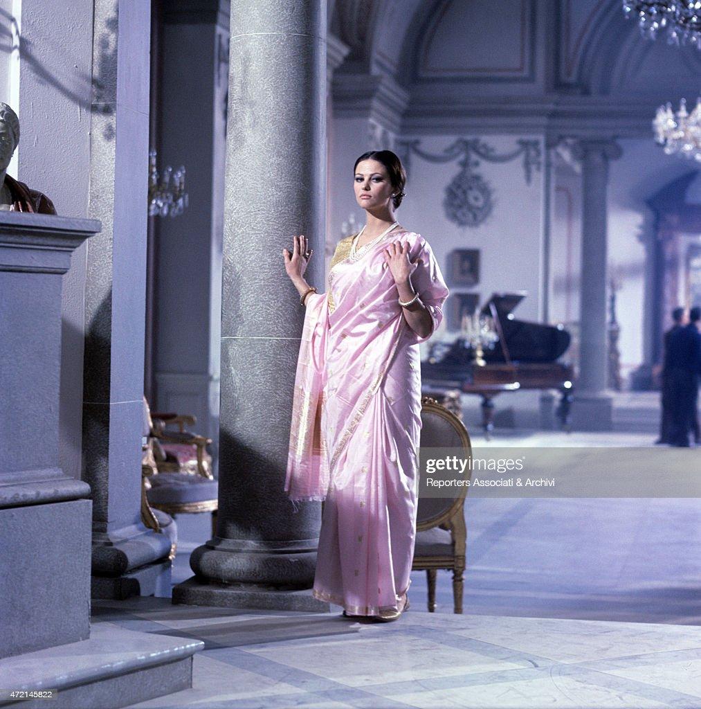 Italian actress Claudia Cardinale wearing an Indian sari as