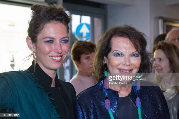 """Italian actress Claudia Cardinale with her daughter Claudia Squitieri during the premiere in Rome at the Cinema Adriano of the Italian film """"Rudy..."""