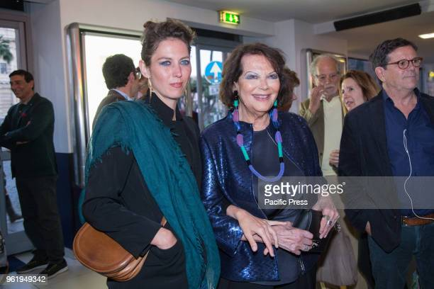 Italian actress Claudia Cardinale with her daughter Claudia Squitieri during the premiere in Rome at the Cinema Adriano of the Italian film Rudy...