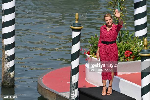 Italian actress Claudia Gerini arrives at the pier of the Excelsior Hotel on the ninth day of the 77th Venice Film Festival, on September 10 , 2020...