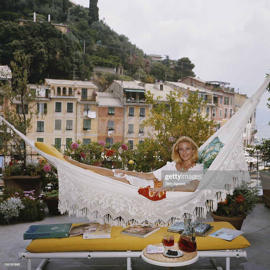 Italian actress Daniela Bianchi poses in a hammock on the terrace of her apartment in Portofino, Italy, in August 1977.