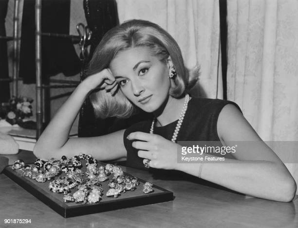 Italian actress Daniela Bianchi star of the James Bond film 'From Russia With Love' chooses jewellery at a boutique in Rome Italy 27th November 1963