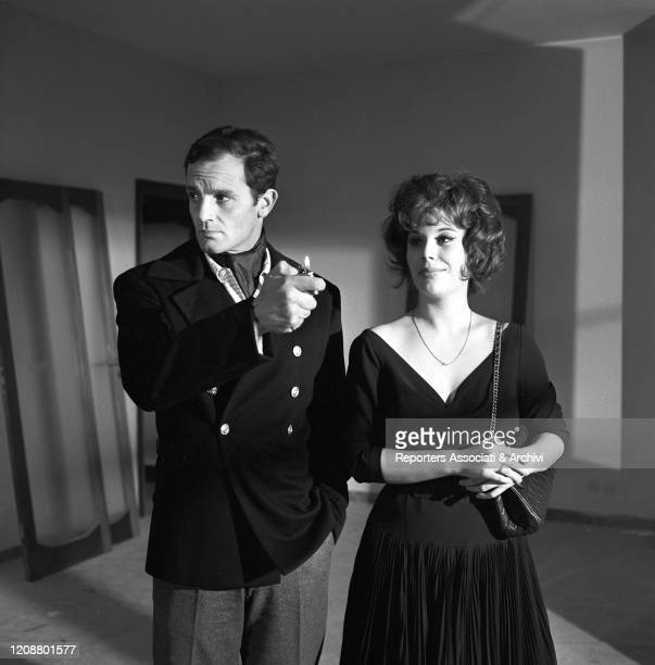 """Italian actress Daniela Rocca and French actor Philippe Leroy on the set of the film """"The Attic"""". 1962"""