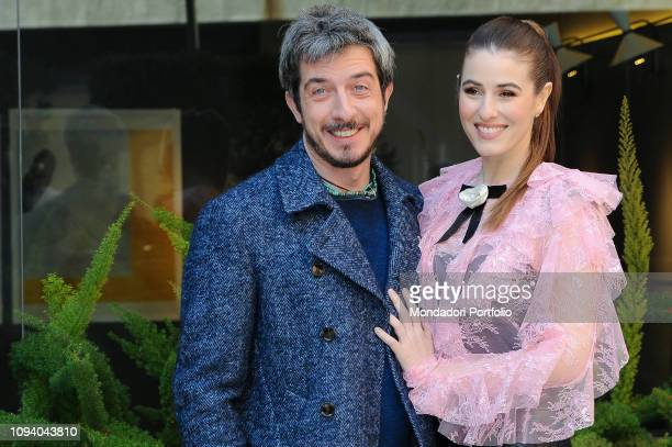 Italian actress Diana Del Bufalo dressed Philosophy and Italian actor Paolo Ruffini attend the photocall of L'agenzia dei bugiardi at the Hotel...