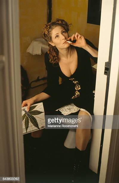 Italian actress Domiziana Giordano at home