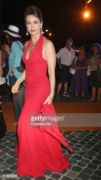 Italian actress Elena Sofia Ricci arrives at the Roma Fiction Fest 2008 dinner gala at Castel Sant'Angelo on July 7 2008 in Rome Italy