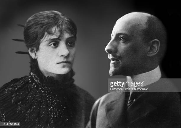 Italian actress Eleonora Duse and Italian writer Gabriele D'Annunzio composition photomontage that brings together the portraits of the famous couple...