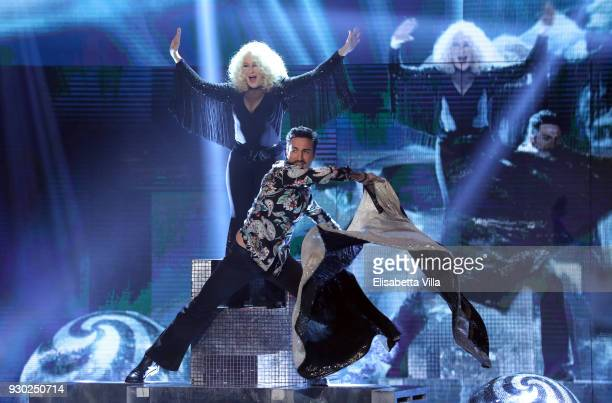 Italian actress Eleonora Giorgi and her dance partner Samuel Peron perform on the Italian TV show 'Ballando Con Le Stelle' at RAI Auditorium on March...