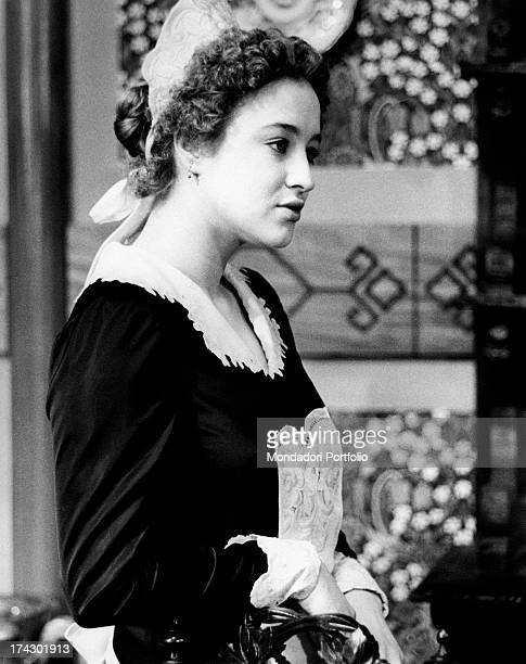 Italian actress Eleonora Giorgi playing the role of a servant in the film Dog's Heart Rome 1975