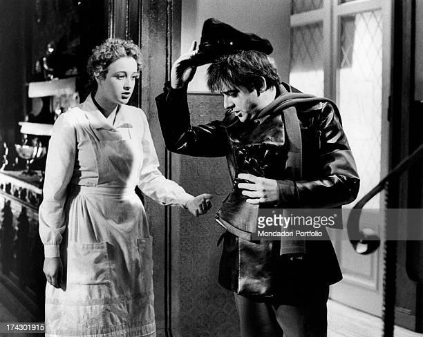 Italian actress Eleonora Giorgi welcoming Italian actor and singer Cochi Ponzoni on the set of the film Dog's Heart Rome 1975