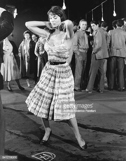 "Italian Actress Elsa Martinelli on the set of the 1956 film ""La Risaia""."