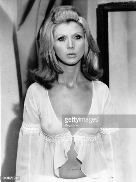 Italian actress Erna Schurer wearing a diaphanous nightgown during the filming of 'This Love so Tender So Violent' aka 'Le tue mani sul mio corpo'...
