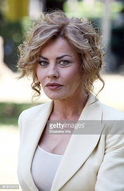 Italian actress Eva Grimaldi attends a photo call promoting Italian TV Film 'Mogli A Pezzi held at Casa del Cinema on May 7 2008 in Rome Italy