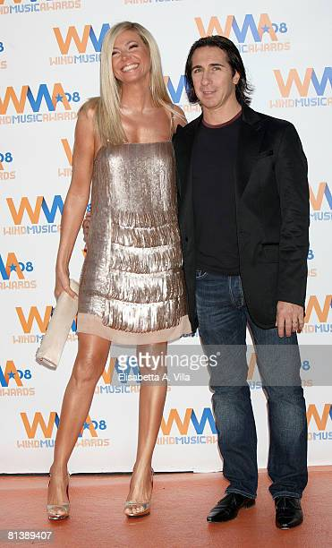 Italian actress Federica Panicucci and her husband Mario Fargetta attend the 2008 Wind Music Awards at Villa Giulia on June 3, 2008 in Rome, Italy.