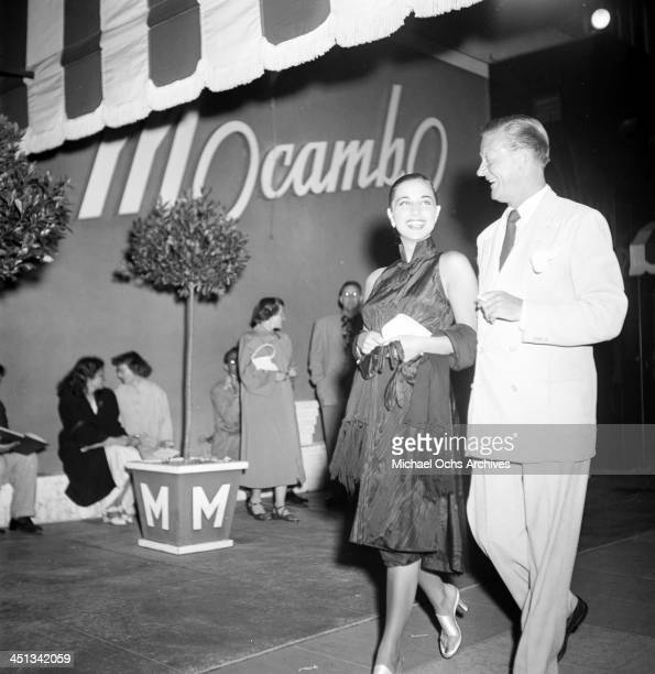 Italian actress Franca Faldini with Carleton Alsop arrive at Mocambo in Los Angeles California
