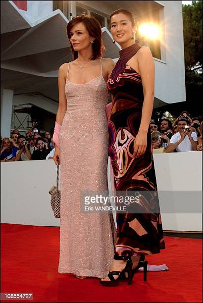 Italian actress Francesca Neri and Chinese actress and President of the jury Gong Li in Venice Italy on September 9th 2002