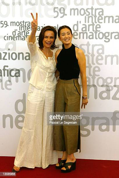 Italian actress Francesca Neri and Chinese actress Gong Li judge members of the 59th annual Venice Film Festival pose during a photo call August 29...