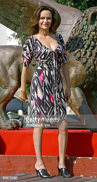Italian actress Francesca Neri arrives at the Excelsior Hotel during the 65th Venice Film Festival on August 30 2008 in Venice Italy