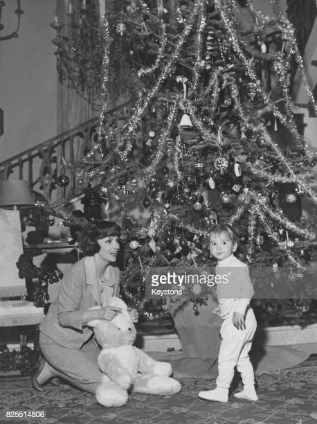 Italian actress Gina Lollobrigida after Christmas with her son Milko, Rome, Italy, 29th December 1959.
