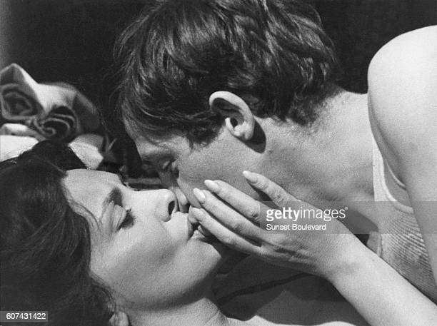 Italian actress Gina Lollobrigida and French actor JeanPaul Belmondo on the set of Mare Matto written and directed by Italian Renato Castellani